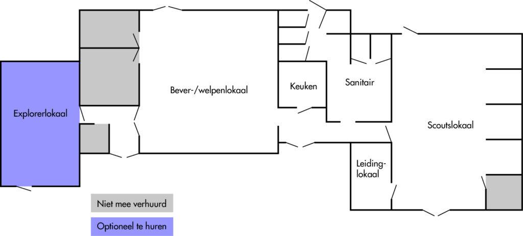 Een plattegrond van het clubhuis van Scouting Frederik Hendrik
