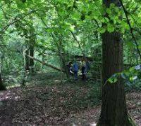 De scouts tijdens een bosspel