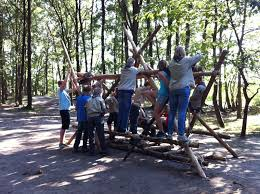 Scouts pionieren een familieschommel