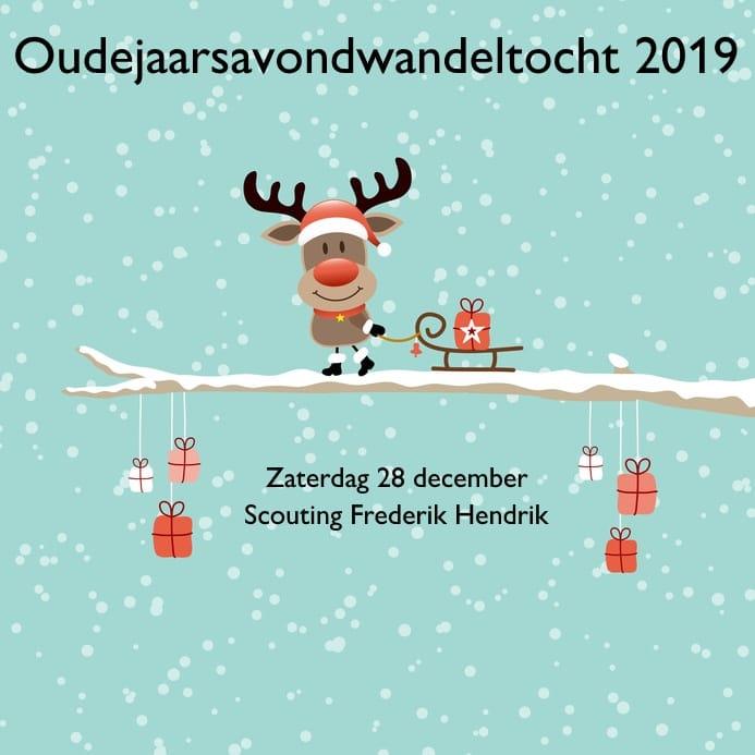 De flyer voor de Oudejaarsavondwandeltocht 2019